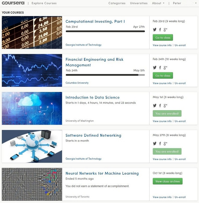 My Study viw on coursera.org