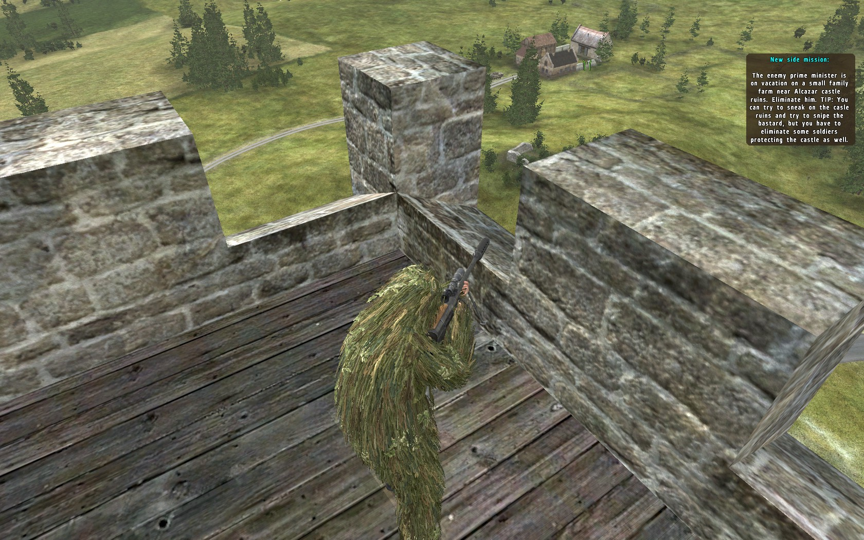 Side mission: Elimination of enemy government official from nearby castle ruin (you have to silently takeout guards of the castle to get to this advantage point)