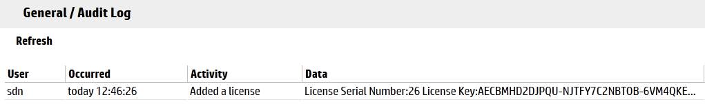 SDN License in Audit Log