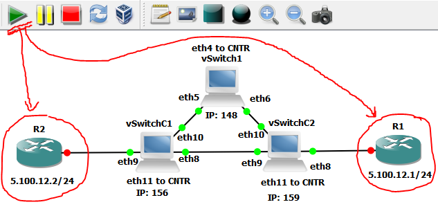 GNS3 - start routers that simulate end hosts