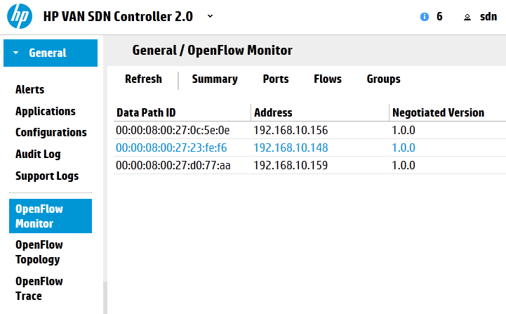HP SDN Controller view on three switches