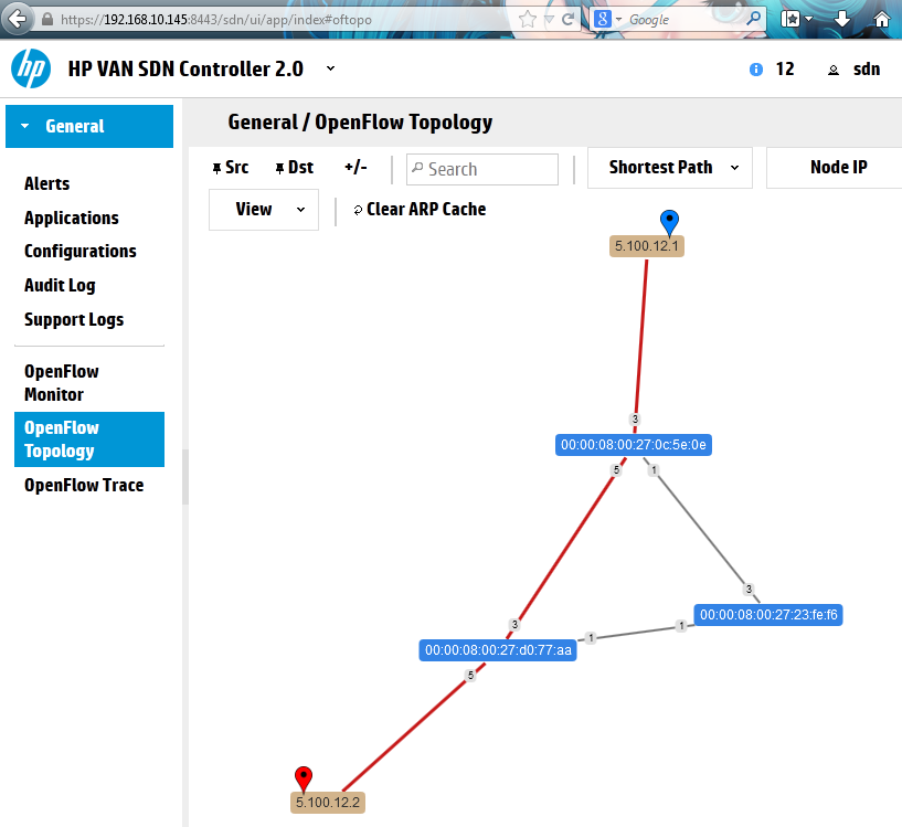 HP SDN Controller visualizing the path between two nodes in our lab topology