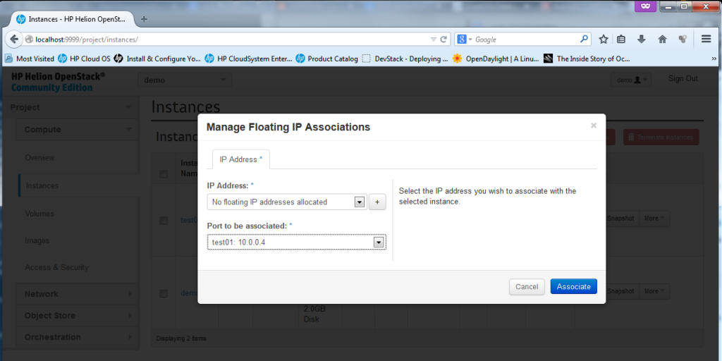 Creating new Instance, part 6 - floating IP dialog