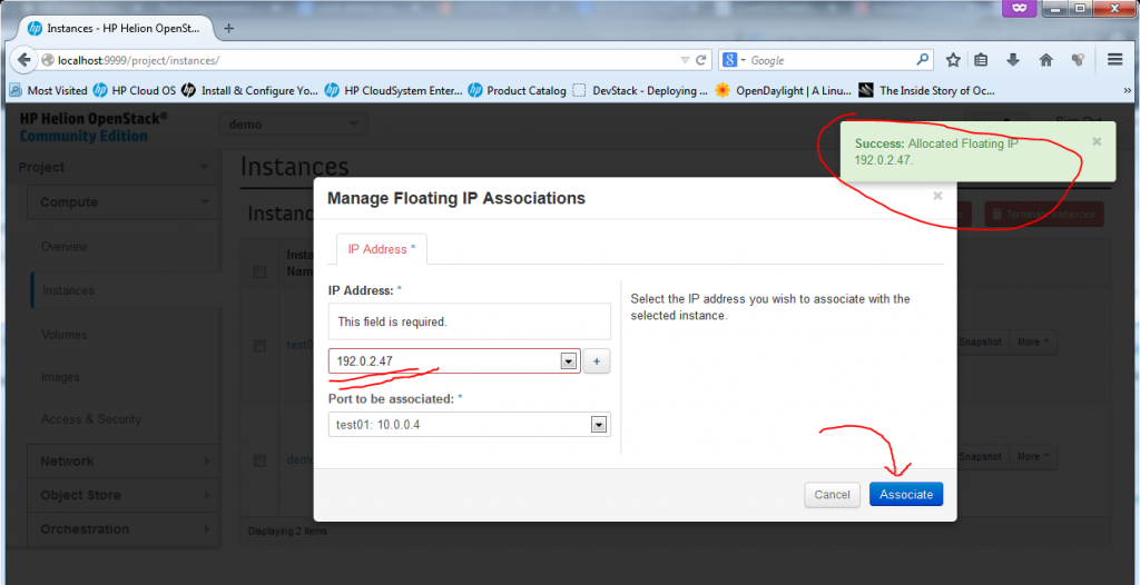 "Creating new Instance, part 6 - Floating IP allocated, just hit ""Associate"""