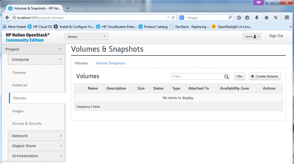 "The ""volumes"" section is quite empty, the volumes is a place where dynamically mounted storage can be created."