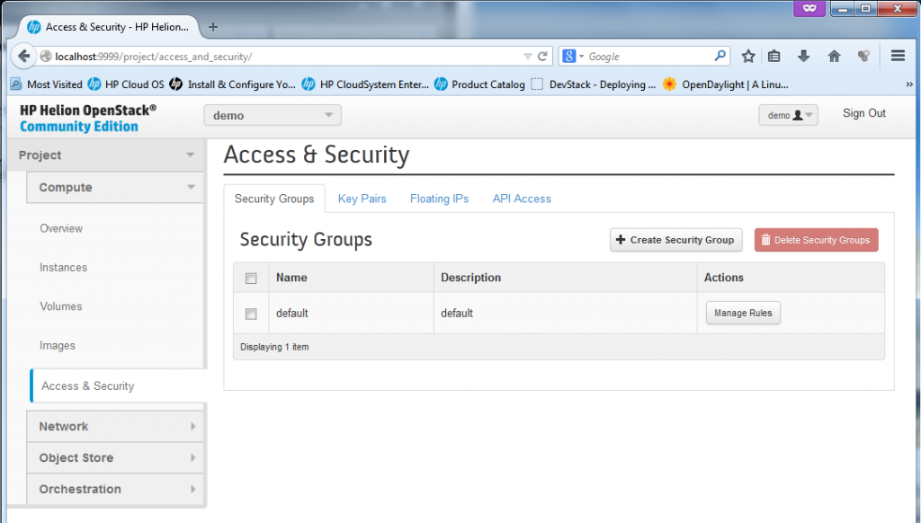 The security section for management of access rules (technically firewall rules) for each VM.