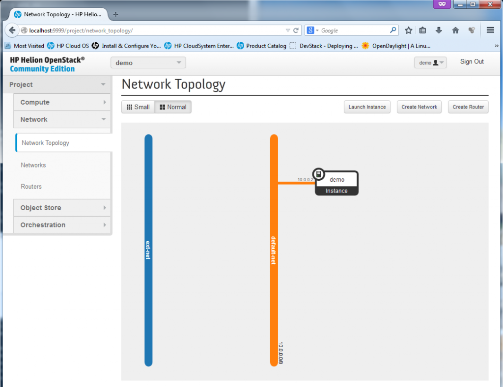 Basic HP Helion network topology (the router with 10.0.0.1 connecting ext-net and default-net is missing as a bug)