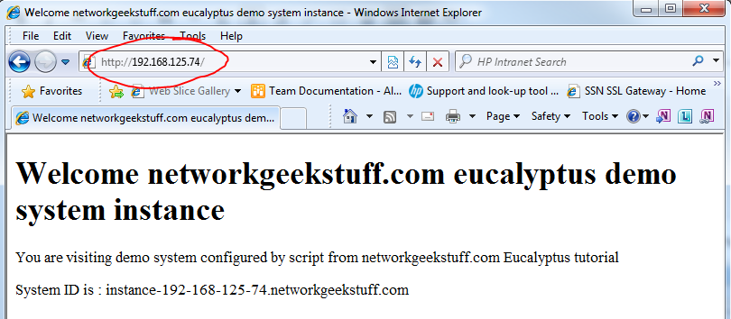 Access to instance working via 192.168.125.74 (external IP), including configuration script that configured a webpage!