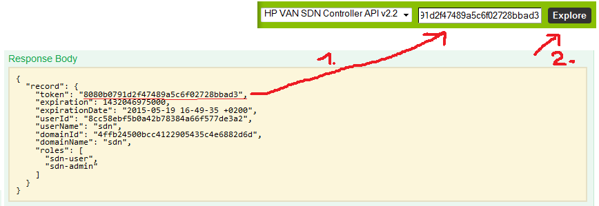 HP VAN SDN Controller 2.4.6 - REST API authentication token included in the whole API