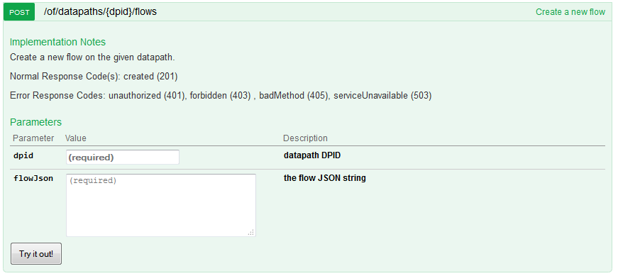 HP VAN SDN Controller 2.4.6 - REST API for flow insertion