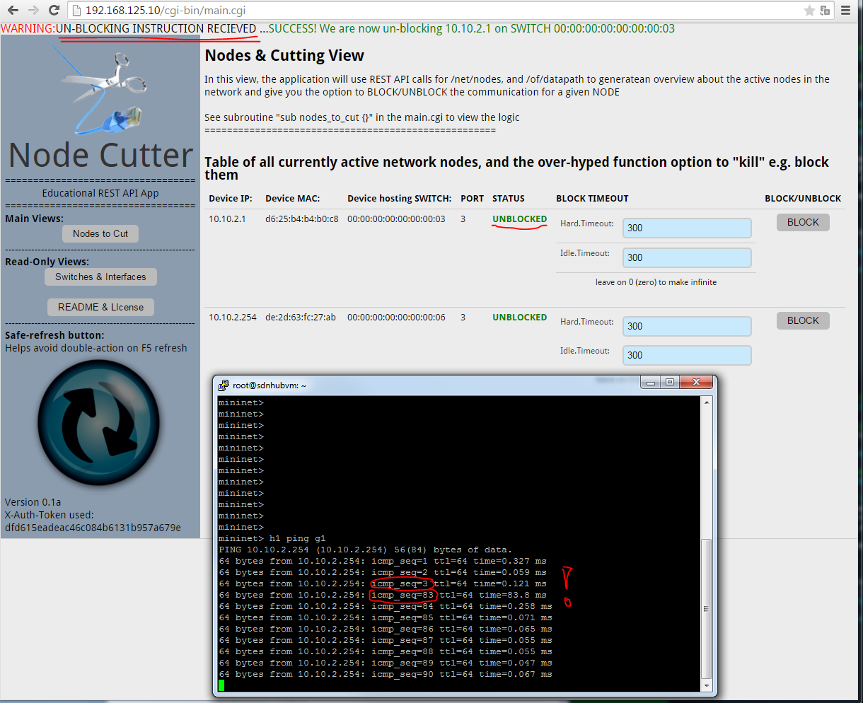 Node Cutter - v0.1 Nodes to Cut view, unblocking node H1 success message and ping recovery after several sequence numbers blocked