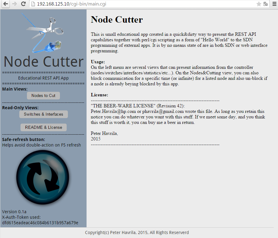 Node Cutter - v0.1 Main menu initial page with readme and license