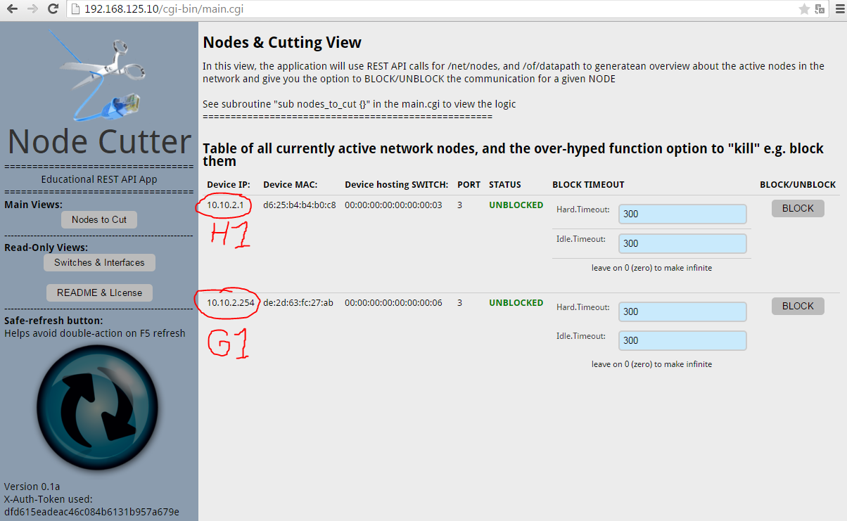 Node Cutter - v0.1 Nodes to Cut view, showing two detected nodes H1 and G1.