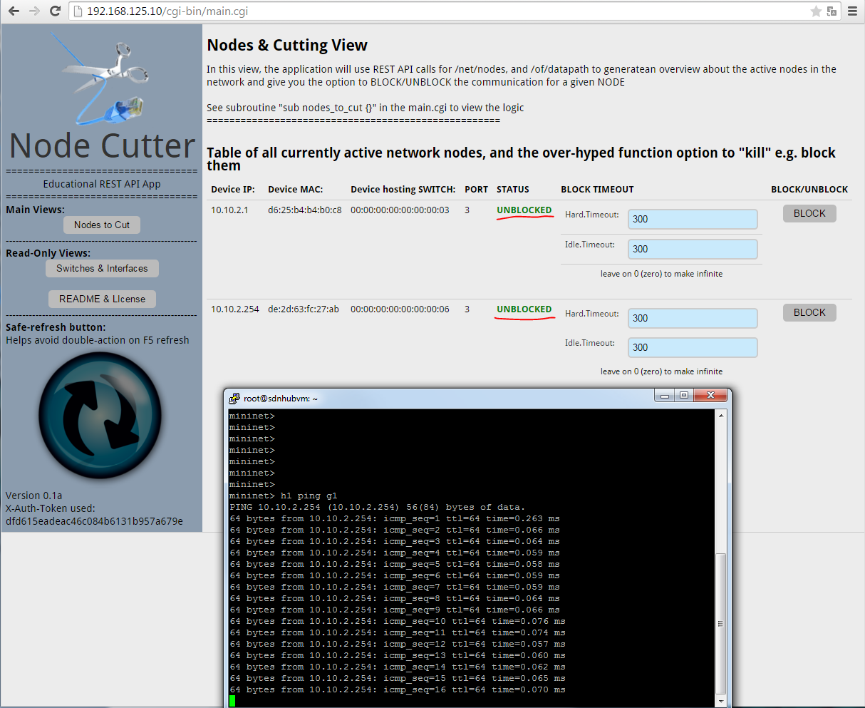 Node Cutter - v0.1 Nodes to Cut view, ping running between H1 and G1
