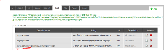 DNS TXT record with DKIM key in my example DNS provider (websupport.sk)