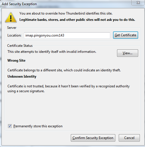 Thunderbird self-signed certificate warning