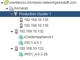 vCenter view on simple cluster in inventory