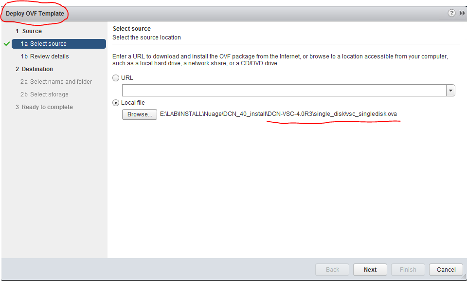 Starting deployment of VSC ova in vCenter