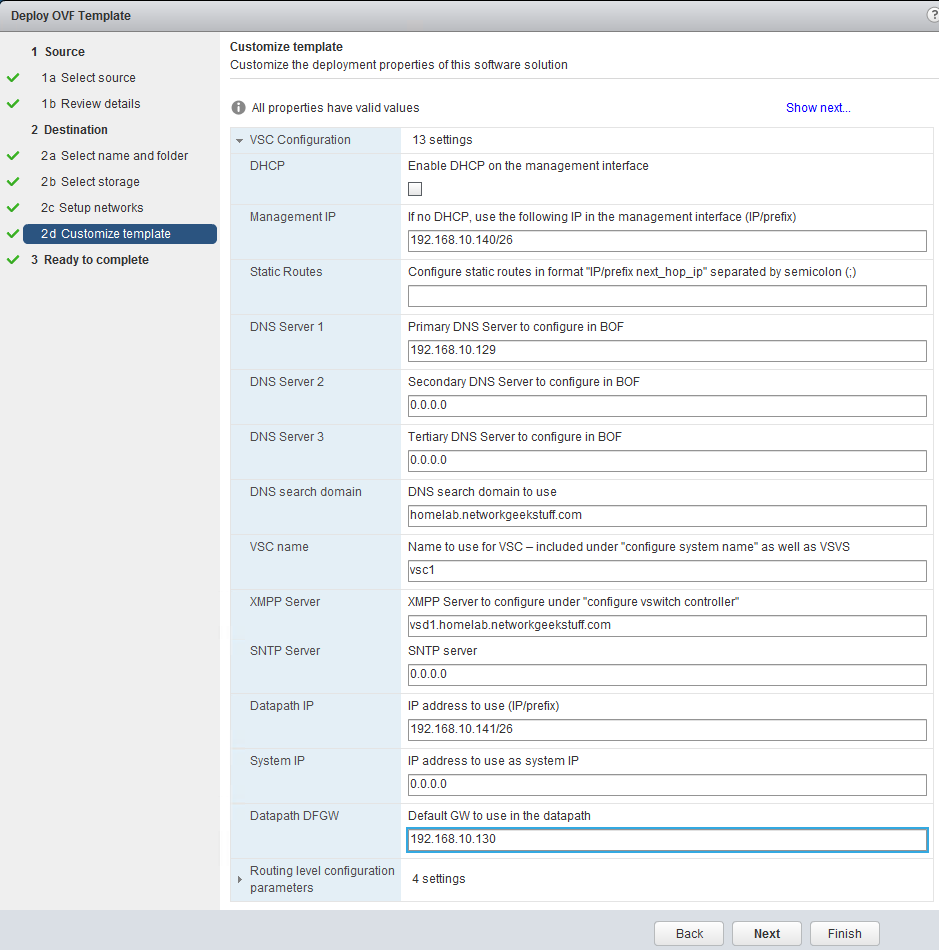 VSC template customization via vmWare