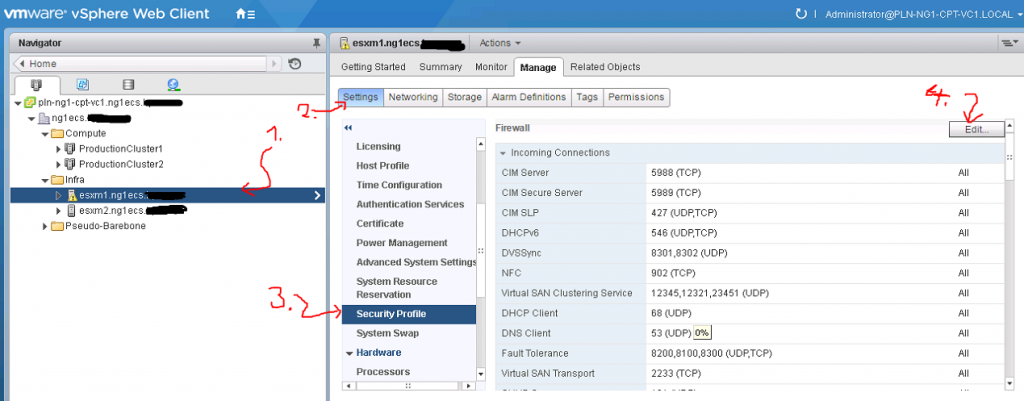 Locate ESX Host in vCenter and open its security profile