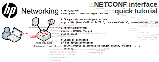 HP Networking/Comware NETCONF interface quick tutorial (using python's ncclient and pyhpecw7)